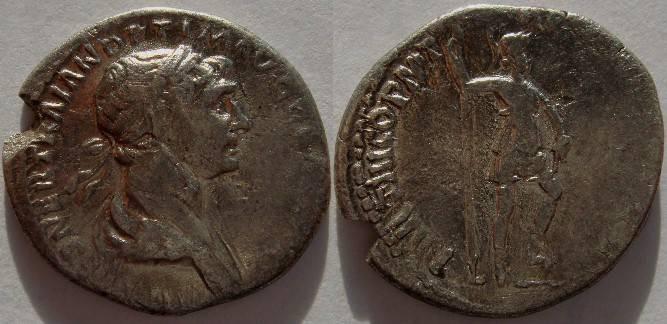 Ancient Coins - Trajan AD 98-117 Silver Denarius. Mars standing right