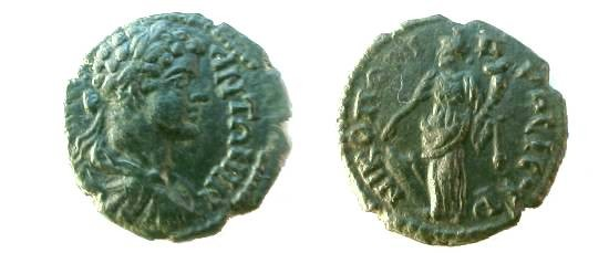 Ancient Coins - Caracalla AE18 of Nikopolis ad Istrum.  Tyche standing left with patera & cornucopiae.