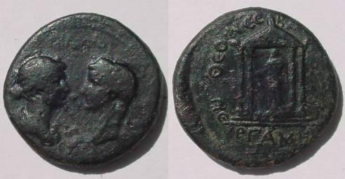 Ancient Coins - Tiberius and Livia. AE20 of Mysia, Pergamon.Tetrastile temple containing statue of Augustus holding spear.