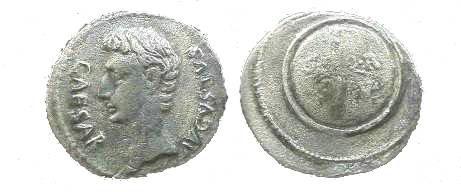 Ancient Coins - Augustus Denarius.  Round shield inscribed SPQR.