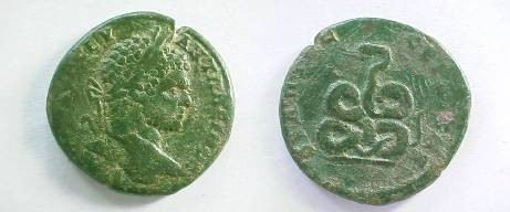 Ancient Coins - Caracalla AE30 of Serdica, Thrace.  Coiled serpent.
