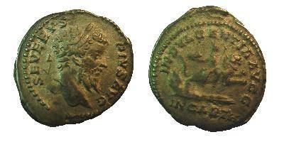 Ancient Coins - Septimius Severus Denarius. INDVLGENTIA AVGG IN CARTH, Dea Caelestis riding right on lion, holding thunderbolt & scepter.
