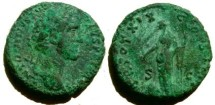 Ancient Coins - Antoninus Pius AE As.  TR POT XIX COS IIII S-C, Providentia standing left, pointing at large globe at foot & holding long scepter.
