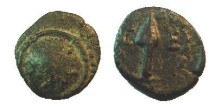 Ancient Coins - PISISDIA SELGE. 3rd-2nd Century BC. Bronze -15mm O: Circular shield. R: Spear-head. EF with beautiful patina and Rare!!