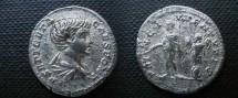 Ancient Coins - Geta, as Caesar, Denarius.  PRINC IVVENTVTIS, Geta, in military dress, standing left with baton & scepter, trophy behind.