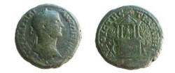 Ancient Coins - Elagabalus AE31 of Augusta Traiana, Thrace. two story building  built on hill with statue of Diana.