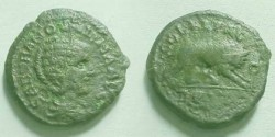 Ancient Coins - Tranquillina AE24 of Deultum, Thrace.  COL FL PAC DEVLT, she-wolf and twins right.
