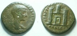 Ancient Coins - Diadumenian AE28 of Nikopolis, Moesia Inferior.  City gate with three crenulated towers.