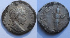 Ancient Coins - Septimius Severus  Fourée  Denarius. 197-198 AD. , laureate head right / FORTUNA...