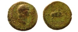 Ancient Coins - Nero AE Sestertius,  63 AD.  DECVRSIO (no S C) below Nero on horse prancing right, accompanied by a second horseman behind him.