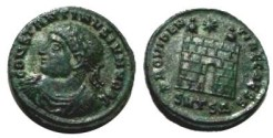 Ancient Coins - Constantine II AE3 of Thessalonica. PROVIDENTIAE CAESS, campgate with two turrets and star above.