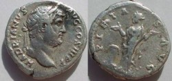 Ancient Coins - Hadrian Denarius,  133 AD.  PIETAS AVG, Pietas standing left, hands raised, altar at foot.