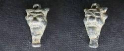 Ancient Coins -  Mesopotamian bronze amulet of the head of the demon Pazuzu.  800-300 BC.