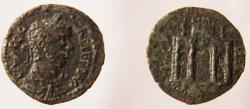 Ancient Coins -  Gallienus, 253 - 268 AD AE 26 of Parium, Mysia  Triumphal arch with three arches.Rare