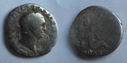 Ancient Coins - Vespasian Judaea Capta Denarius.  Captive Jewess seated right, hands tied before, trophy of captured arms behind, IVDAEA in ex.