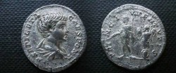 Ancient Coins - Geta, as Caesar, Denarius.  PRINC IVVENTVTIS, Geta, in military dress, standing left with baton & scepter, trophy behind.