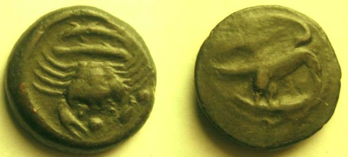 Ancient Coins - Akragas, Siciy, AE Hexas. ca 425-406 BC. Eagle, with head lowered, standing right on hare / Crab, two fish below