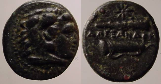 Ancient Coins - Alexander  the Great AE12mm.EF,RARE AND VERY  BEAUTIFUL DARK GREEN PATINA!!
