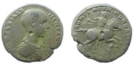 Ancient Coins - Diadumenian Æ28 of Nikopolis ad Istrum. Emperor on horseback right, cape waving behind, kneeling captive below.