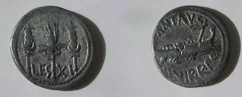 Ancient Coins - Mark Antony AR Legionary Denarius,  32-31 BC.  LEG XI.