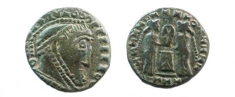 Ancient Coins - Barbarous imitation of a LAETITIA type.  18mm.