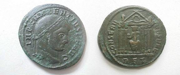 Ancient Coins - Maxentius Æ Follis. Minted at Rome, 308-310 AD. Roma seated facing, head left, holding orb, in hexastyle temple with peaked roof, wreath in pedament. RBT in ex. RIC 210.