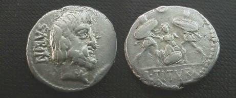 Ancient Coins - L Titurius Lf Sabinus denarius,  89 BC.  Tarpeia buried to waist in sheilds.