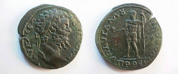 Ancient Coins - Septimius Severus AE27 of Nikopolis, Moesia Inferior.  Septimius, laureate, standing facing in military garb, holding orb & scepter.