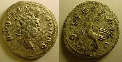 Ancient Coins - Valerian II AR Antoninianus. 258-259 AD. DIVO CAES VALERIANO.Rare.