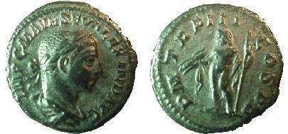 Ancient Coins - Severus Alexander Denarius.  P M TR P II COS P P, Jupiter standing l.