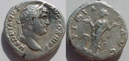 Ancient Coins - Hadrian Denarius,  133 AD.  PIETAS AVG, Pietas standing left, hands raised, altar at foot.