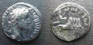 Ancient Coins - Tiberius AR Denarius.  TR POT XVII IMP VII, Tiberius in slow quadriga  right.