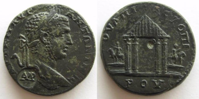 Ancient Coins - Thrace TOPIROS .Tetra style temple between horseman on base.EF and very beautiful!!