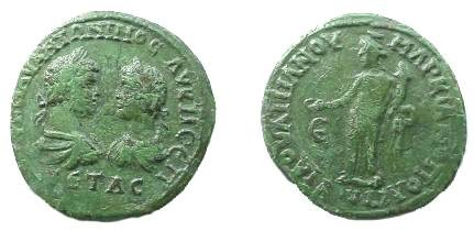 Ancient Coins - Caracalla & Geta AE28 of Markianopolis.  Concordia standing left with patera & cornucopiae, E to left.