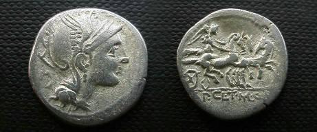 Ancient Coins - Appius Claudius Pulcher, T Manlius Mancinus & Q Urbinus AR Denarius.  Victory in triga right, one horse looking back, AP CL T MANL Q VR in ex.