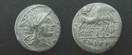 Ancient Coins - Cn Domitius Ahenobarbus Denarius.  Jupiter in quadriga right with thunderbolt & branch,  CN DOMI in ex.