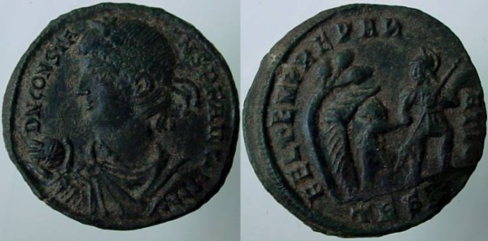 Ancient Coins - CONSTANS. 337-350 AD. AE 21 mm. CELEBRATION OF 1100 ANNIVERSARY OF ROME..HIS DEFEAT AND SETTLEMENT OF THE FRANKS!!