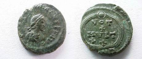 Ancient Coins - Valentinian II AE4.15mm.VOT X MVLT XX in wreath, ANT below.