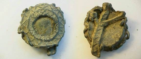 Ancient Coins -  A small Roman mirror.  34mm.
