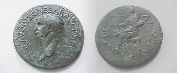 Ancient Coins -  Claudius AE Dupondius. Ceres, veiled and draped, seated l