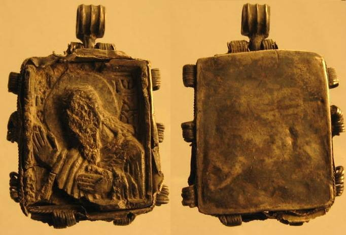 Ancient Coins - Unique late roman or Byzantine silver icon ( pendant)  with cameo of Jesus!