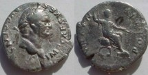 Ancient Coins - Vespasian denarius,  73 AD.  PONTIF MAXIM, Vespasian seated right, holding sceptre and branch.