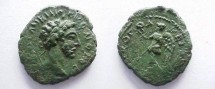 Ancient Coins - Commodus AE21 of Nikopolis ad Istrum.  Nike advancing left with wreath & palm.