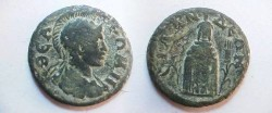 Ancient Coins - Silandus, Lydia, AE21. Cult statue of Kore, poppy to left and grain ear to right.