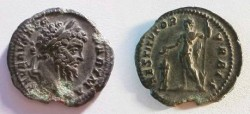Ancient Coins - Septimius Severus AR Denarius.  RESTITVTOR VRBIS, Severus in military dress sacrificing over lighted tripod, patera in right hand, sceptre in left.