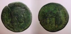 Ancient Coins - HADRIAN. 117-138 AD. Æ Sestertius.Hadrian standing left, RESTITVTORI ORBIS TERRARVM