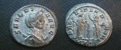 Ancient Coins - Severina Silvered Antoninianus.  PROVIDEN DEOR, Fides with standard and Sol with globe standing facing each other, UXXI in ex.