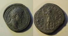 Ancient Coins - Marcus Aurelius AE Dupondius. 163-164 AD. Mars standing right holding spea