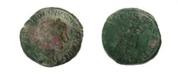 Ancient Coins - Gordian III Æ Sestertius.  P M TR P V COS II P P S-C, Apollo seated left holding branch & resting on lyre.