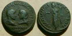 Ancient Coins - Gordian & Tranquillina Æ 28mm of Anchialus. Homonoia standing left holding patera & cornucopiae.